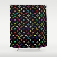 lv Shower Curtains featuring COLORFULL LV PATTERN LOGO by BeautyArtGalery