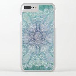 big paisley mandala in moss Clear iPhone Case