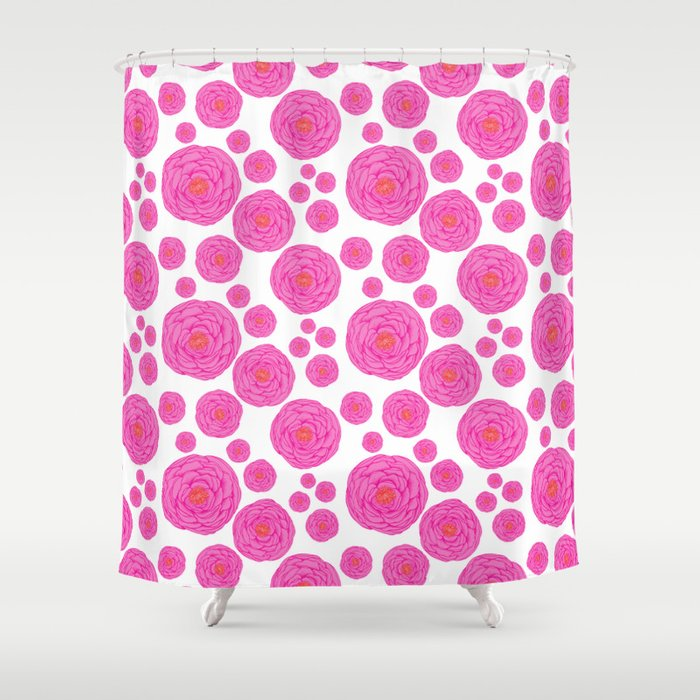 Punched up Peonies Shower Curtain
