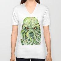 cthulhu V-neck T-shirts featuring Cthulhu by Olechka