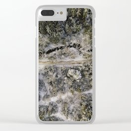 A road through the Evergreen Forests in British Columbia Clear iPhone Case