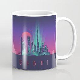 Dubai City Skyline Retro Art Deco Tourism - Night Coffee Mug