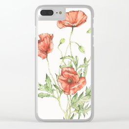 Fragile Beauty - Watercolor Poppies Clear iPhone Case