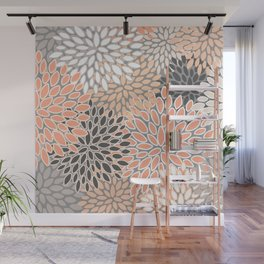 Modern, Flowers Print, Coral, Peach and Gray Wall Mural