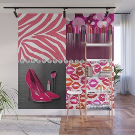Pink & Purple Fashion Collage Wall Mural