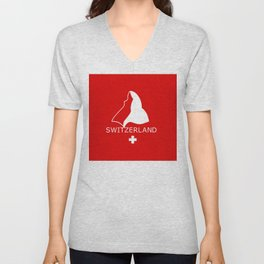 Switzerland and Matterhorn Unisex V-Neck