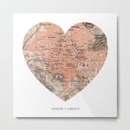 Athens heart map Metal Print