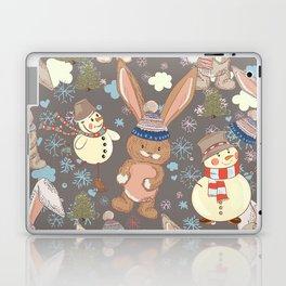 6)Christmas cute illustration with bunny and snowmen. Winter design illustration Laptop & iPad Skin