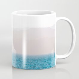 Minimalist Landscape Photography Ocean Mountains With Rainbow of Birds Coffee Mug