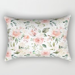 Sunny Floral Pastel Pink Watercolor Flower Pattern Rectangular Pillow