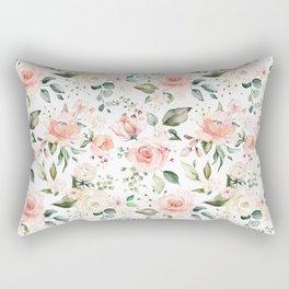 Sunny Floral Pastel Pink Watercolor Flower Pattern Rectangular Pillow