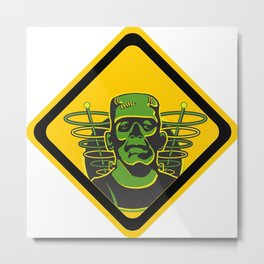 Caution Hazard Ahead - Frankenstein Metal Print