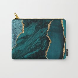 Crushed Green Velvet, Teal And Aqua Marble Carry-All Pouch