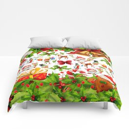 Holiday festive red green holly Christmas pattern Comforters