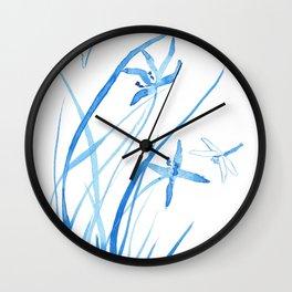 Indigo Dragonfly  Wall Clock