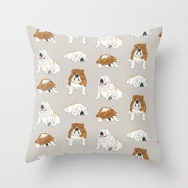 Bulldog Babies Throw Pillow