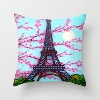 eiffel tower Throw Pillows featuring Eiffel Tower by ArtLovePassion