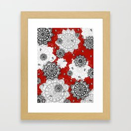 Ladybug Mandalas on red Framed Art Print