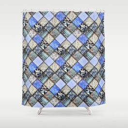 Faux Patchwork Quilting - Blues Shower Curtain