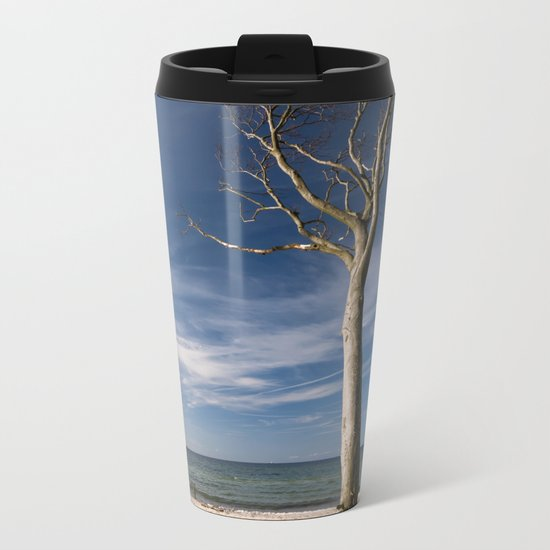 storm-tossed tree at the sea - Beach Ocean Metal Travel Mug
