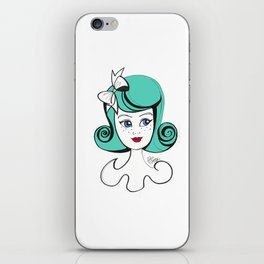 Cute Vintage Fashion Doll Sketch (Aqua hair and red lips) iPhone Skin