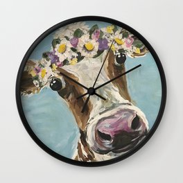 Flower Crown Cow Art, Cute Cow With Flower Crown Wall Clock