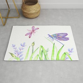 Dragonfly in pink and purple Rug