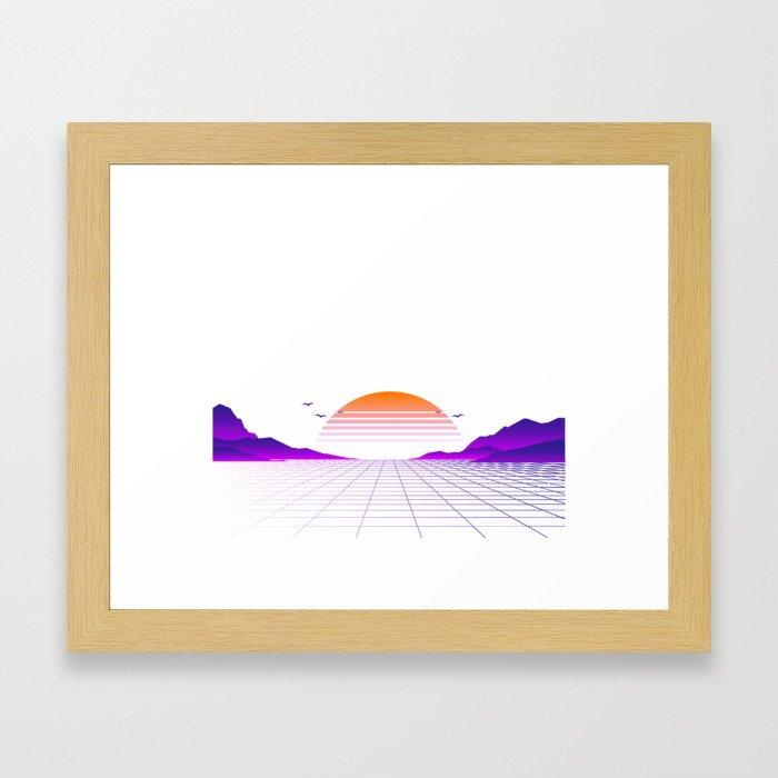 Vaporwave Outrun   Eighties Style Framed Art Print