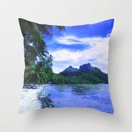 Tropical Paradise Island Beach in French Polynesia Throw Pillow
