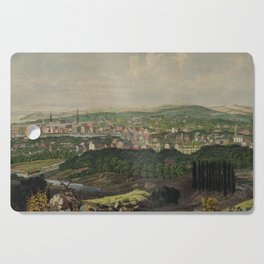 Vintage Pictorial Map of Bridgeport CT (1857) Cutting Board