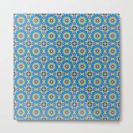 Moroccan Tile 2B - Blue Metal Print