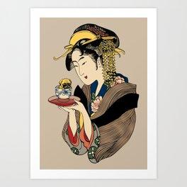 Tea Time with Pug Art Print
