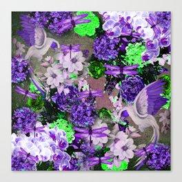 PARROTS Magnolias Hydrangeas Tropical Flower Pattern Canvas Print