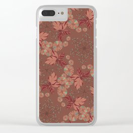 Dandelion Geometric in brown and blue Clear iPhone Case