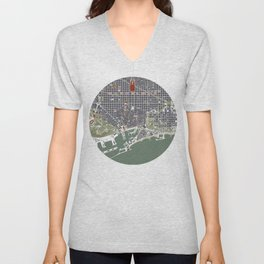 Barcelona city map engraving Unisex V-Neck