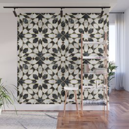Black and white marble Moroccan mosaic Wall Mural