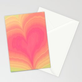 Abstract Tropical Pastel Rainbow Heart Pattern   Valentine's Day Stationery Cards