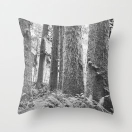 Forest Trail in Black and White Throw Pillow