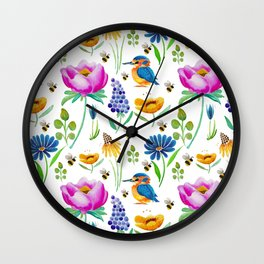 Flora & Fauna Watercolour Wall Clock