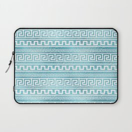 Gentle Blue Greek Meander Pattern on glass Laptop Sleeve