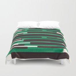 Deep Green Turquoise Primitive Stripes Mid Century Modern Minimalist Watercolor Gouache Painting Col Duvet Cover