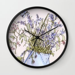 Wildflowers Botanical Flowers in Pitcher Wall Clock