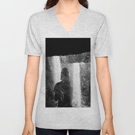Washed Away by Waterfalls - Black and White Holga Film Photograph Unisex V-Neck