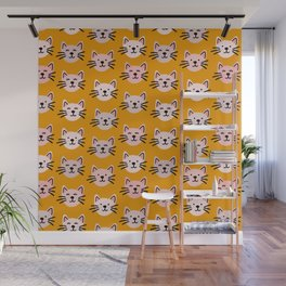 Cat pattern in mustard background Wall Mural