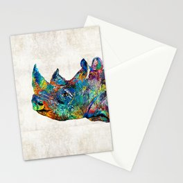 Rhino Rhinoceros Art - Looking Up - By Sharon Cummings Stationery Cards