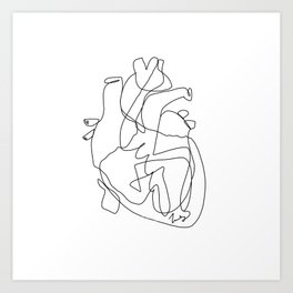 one line heart Art Print