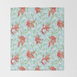 Goldfish, Mask and Magnolia Pattern Throw Blanket
