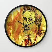 stiles stilinski Wall Clocks featuring Stiles in Orange by reliand