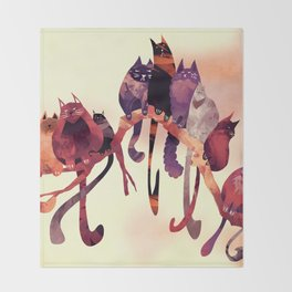 Cat-Birds on a Wire Throw Blanket