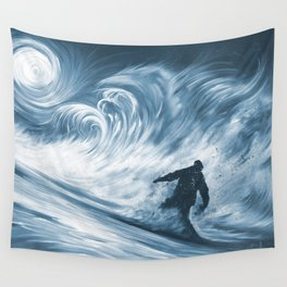 Snowboarder in 100km Blower Wall Tapestry